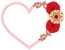 Heart-shaped frame with decorative flowers. Royalty Free Stock Photography