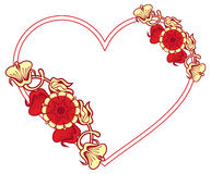 Heart-shaped frame with decorative flowers. Royalty Free Stock Photos