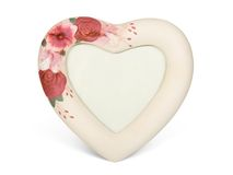 Heart shaped frame with flowers Stock Images