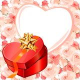 Heart-shaped frame and gift box Stock Photography