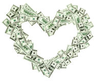 Heart shaped frame made with dollar banknotes Royalty Free Stock Image