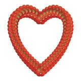 Heart shaped frame made of tomatoes. On a white background stock illustration