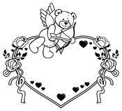 Heart-shaped frame with outline roses and teddy bear with bow and wings. Heart-shaped frame with outline roses and teddy bear with bow and wings, looks like a Stock Photos