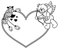 Heart-shaped frame with outline roses and teddy bear with bow and wings. Heart-shaped frame with outline roses and teddy bear with bow and wings, looks like a Stock Image