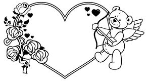 Heart-shaped frame with outline roses and teddy bear with bow and wings. Heart-shaped frame with outline roses and teddy bear with bow and wings, looks like a Stock Images