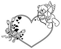 Heart-shaped frame with outline roses and teddy bear with bow an. D wings, looks like a Cupid. Valentine Day background. Raster clip art Stock Photography