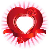 Heart-Shaped Frame with Roses Royalty Free Stock Photos
