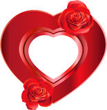 Heart-Shaped Frame with Roses Royalty Free Stock Photography