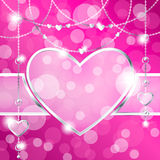 Heart-shaped frame on sparkly hot pink background Stock Photography