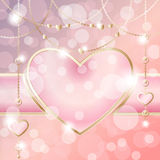 Heart-shaped frame on sparkly peach pink background Stock Image