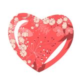 Heart-shaped frame with stylized flowers Royalty Free Stock Image
