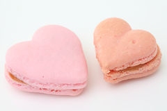 Heart shaped French macaroons Stock Photography