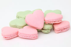 Heart shaped French macaroons Royalty Free Stock Photo