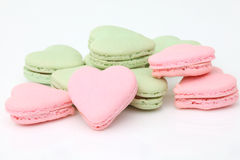 Heart shaped French macaroons Royalty Free Stock Photos