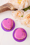 Heart shaped french pastry with pink glaze Stock Photography