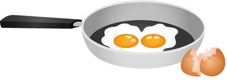 Heart shaped fried double egg in skillet. Image representing a heart shaped fried double egg in skillet, isolated on white, vector design Royalty Free Stock Photo