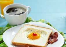 Heart shaped fried egg Stock Images