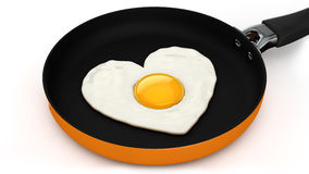 Heart shaped fried egg. 3D illustration Royalty Free Stock Photography
