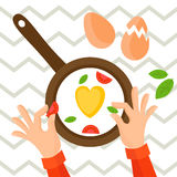 Heart shaped fried eggs on a chive. Food ingredients, vector illustration Royalty Free Stock Photo