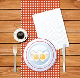 Heart shaped fried eggs on white plate and clear sheet. Top view vector illustration of heart shaped fried eggs on white plate and cup of coffee with heart on Royalty Free Stock Photography