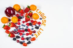 Heart Shaped Fruit Arrangement with Choose Life message # 2 royalty free stock photos