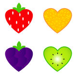 Heart shaped fruit collection Royalty Free Stock Photos