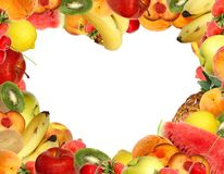 Heart-shaped fruit frame Royalty Free Stock Photo