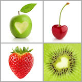 Heart-shaped fruits Royalty Free Stock Image