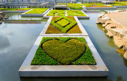 Heart shaped garden floating on the water Royalty Free Stock Photos