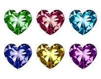 Heart-shaped gems set. Vector illustration of heart-shaped gems isolated on a white background Stock Image