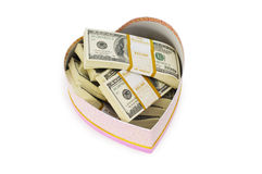 Heart shaped gift box. And dollars inside Royalty Free Stock Photography