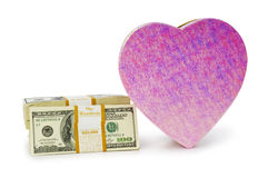 Heart shaped gift box. And dollars Royalty Free Stock Photography