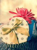 Heart shaped gift box with flower. Stock Photography