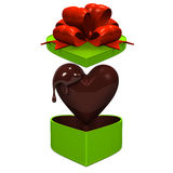 Heart-shaped Gift Box That Lid Is Popping Up With Chocolate Front View Stock Photo