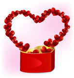 Heart shaped gift box with more hearts Stock Photo