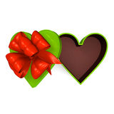 Heart-Shaped Gift Box That Is Opened Top View Royalty Free Stock Images