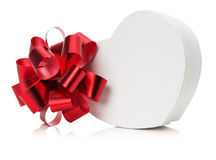 Heart shaped gift box with red bow Stock Photo