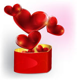 Heart shaped gift box Stock Photos