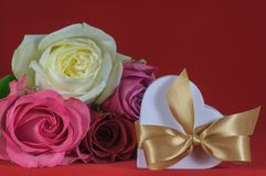 Heart shaped gift box with rose Stock Photo