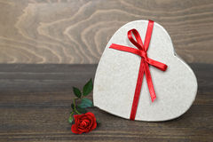 Heart shaped gift box and rose Royalty Free Stock Photos