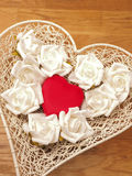 Heart shaped gift box with roses Stock Photography