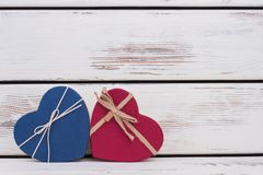 Heart-shaped gift boxes with copy space. royalty free stock photo
