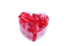 Heart Shaped Gift of Roses Stock Images
