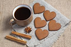 Heart shaped ginger cookies, coffee and spice stock photography