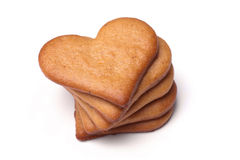 Heart-shaped gingerbread Stock Photography
