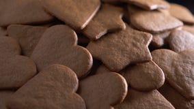 Heart shaped gingerbread, baking stock video