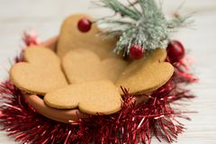 Heart shaped gingerbread cookies at Christmas stock photography