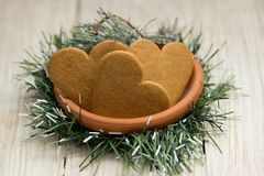 Heart shaped gingerbread cookies at Christmas stock photos