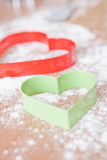 Heart shaped gingerbread cutters Royalty Free Stock Image