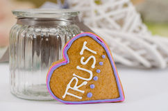 Heart shaped gingerbread, gray/white background. Valentines day symbol Stock Image
